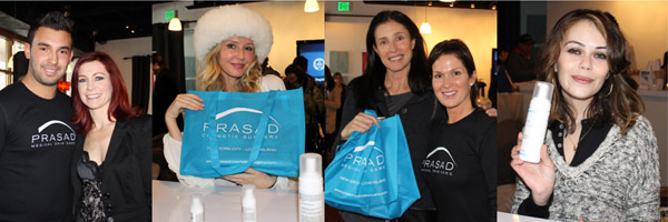 Carrie Preston, Mimi Rogers, and Vanessa Branch holding Prasad Medical Skin Care