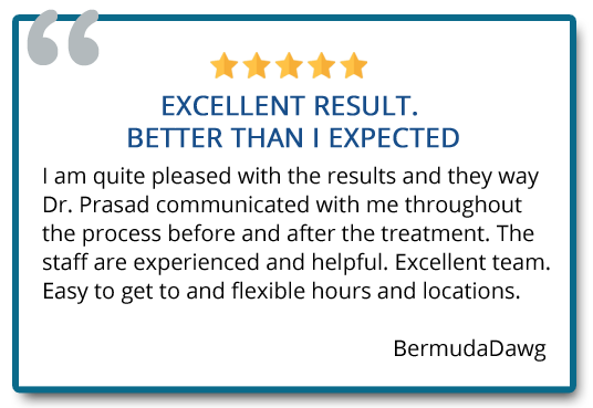 Patient Testimonials. Excellent result. Better than I expected. Reviewer: BermudaDawg