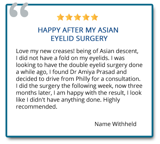 Happy after my Asian eyelid surgery. Love my new creases! 3 months later, I am happy with the result, I look like I didn't have anything done. Highly recommended. Reviewer: name withheld