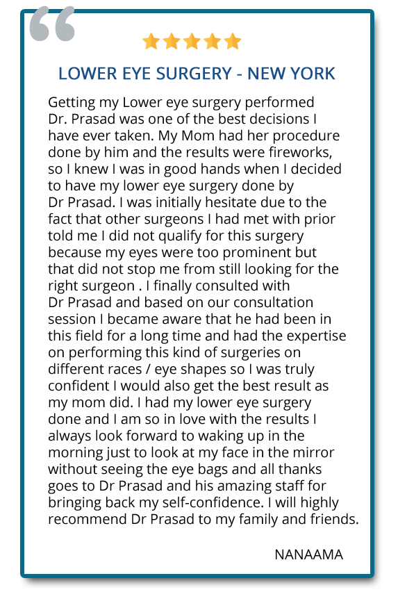 Getting my lower eye surgery performed by Dr. Prasad was one of the best decision I have ever taken. I will highly recommend Dr. Prasad to my family and friends. Reviewer: NANAAMA