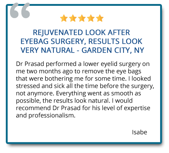 Rejuvenated look after eyebag surgery, results look very natural. I would recommend Dr. Prasad for his level of expertise and professionalism. Reviewer: Isabe