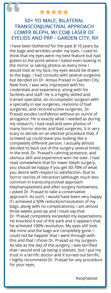 I put my trust in a terrific doctor and it turned out terrific. I highly recommend Dr. Prasad for any procedure for your eyes. Reviewer: Asophalose