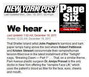 VampireLift & Dr Prasad mentioned on NY Post