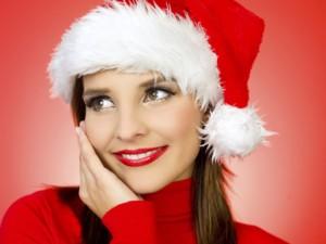 female model wearing santa hat