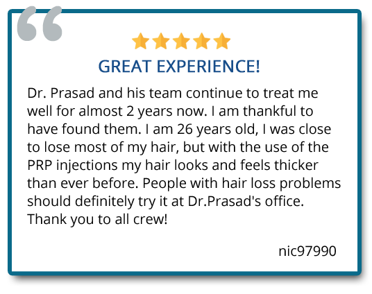 Patient testimonial about the experience on Hair Regeneration Center at Vienna Virginia