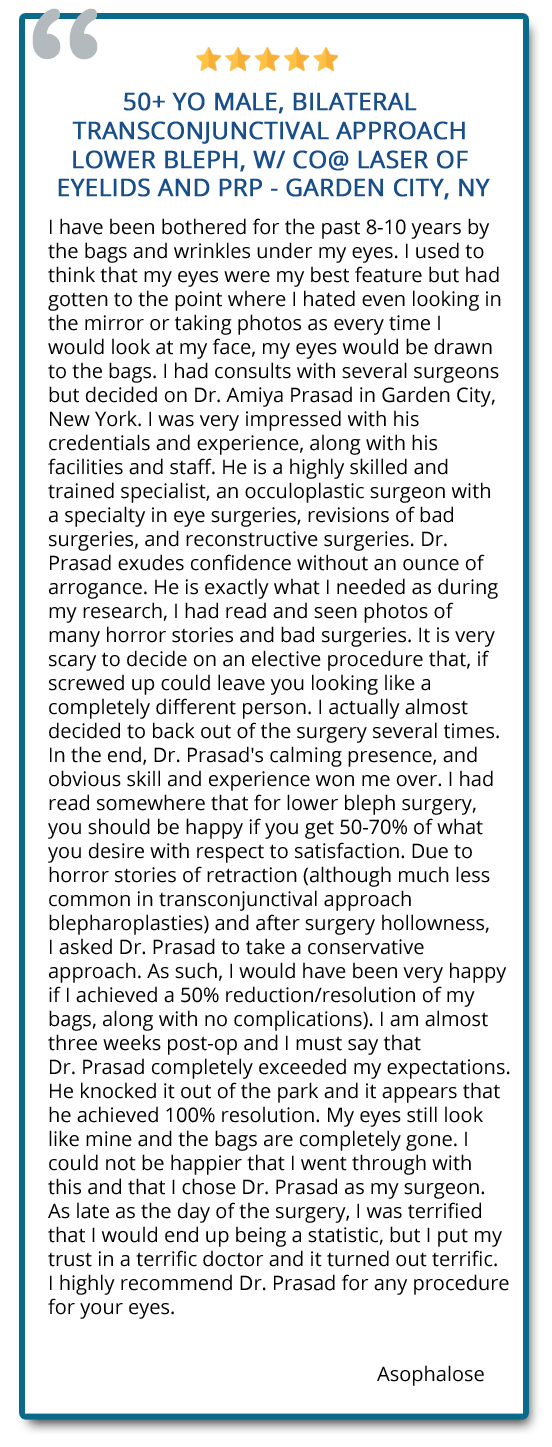 patient reviews on transconjunctival blepharoplasty along with other procedures