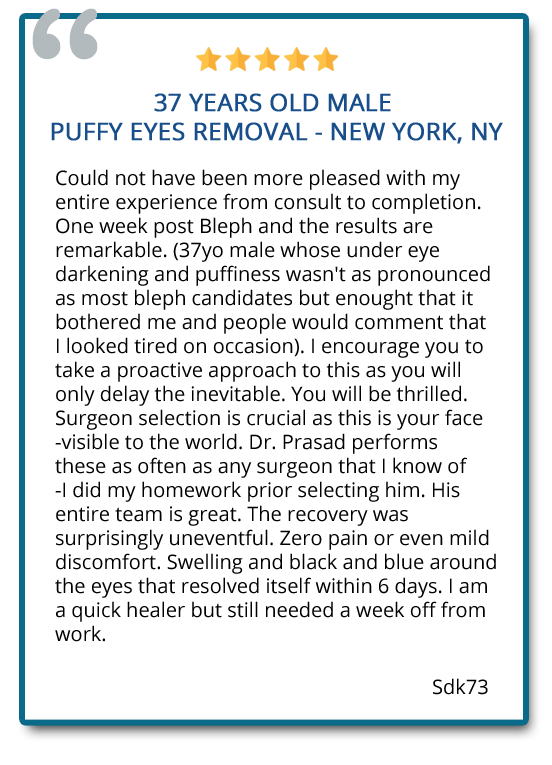 patient review on puffy eyes removal